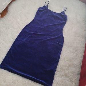 CRUSHED VELVET ROYAL BLUE DRESS